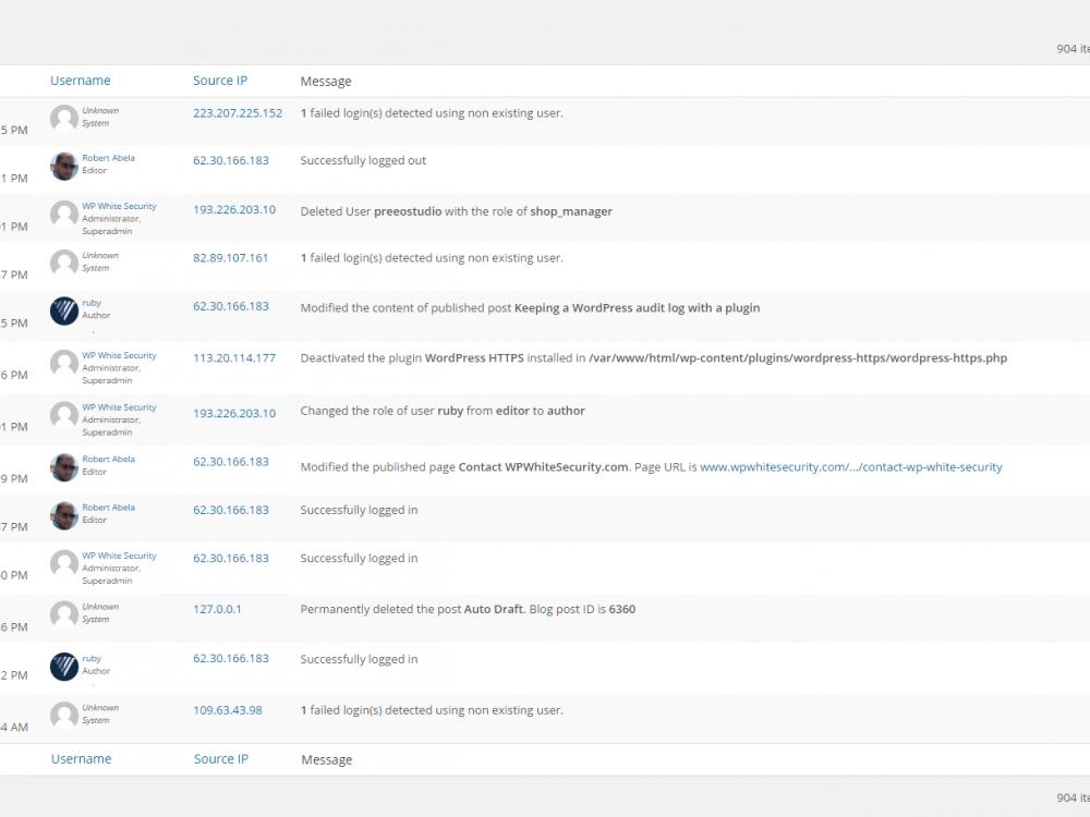 WordPress Audit Log Viewer
