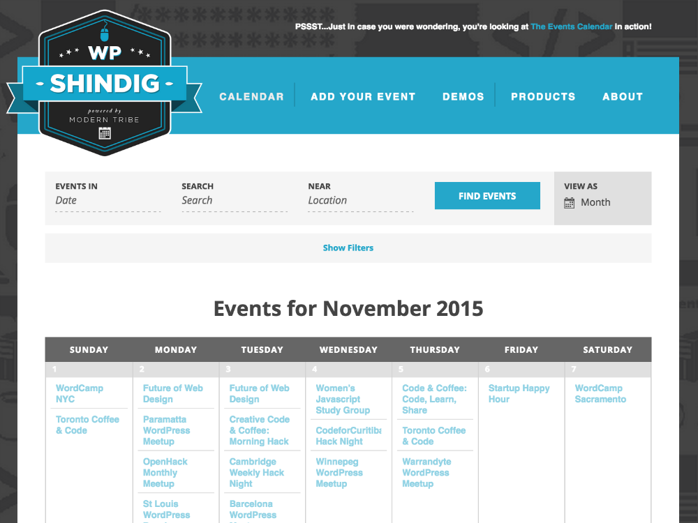 Events Calendar PRO WordPress plugin in action