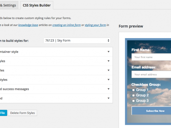 Styles Builder in MailChimp for WordPress