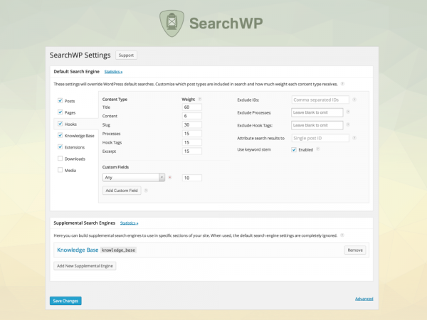 Screenshot of SearchWP settings screen