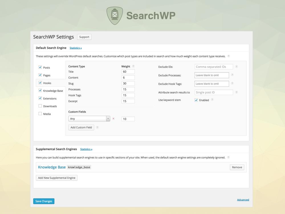 Screenshot of SearchWP settings screen